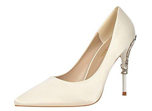 - Pointed-Toe High Heel Fashion Comfortable Lady Silk Satin Wedding Shoes(White 39/8 B(M) US Women)