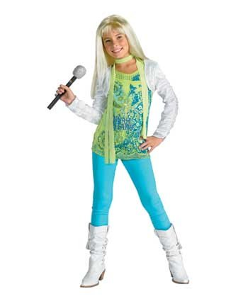 [Hannah Montana Costume Deluxe Green - Child Small 4-6] (Miley Cyrus Disney Costume)