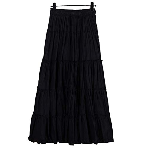 Saukiee Women's Bohemian Elastic Waist Long Skirt Cotton Circle Ruffle Broomstick Peasant Maxi Tiered Skirts Black
