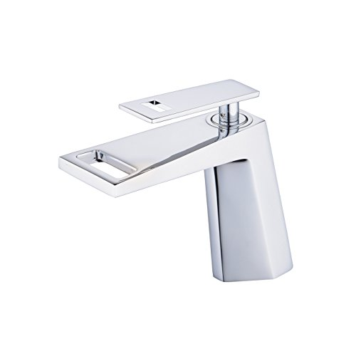 Built Single - Waterfall Bathroom Sink Faucet,Unique Design Single Hole Single Handle Brass Lavatory Vanity Faucet,Lead Free,Chrome