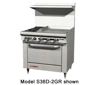 Southbend S36C-1GL S-Series 36'' Gas Restaurant Range w/ (4) Open Burners, 12'' Left Griddle & Cabinet Base by South Bend