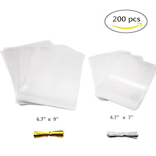 200pcs Clear Cellophane Bags, Party Favor Treat Bags with 200 Pcs Twist Ties for Bakery, Cookies, Candies