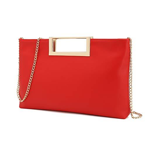 Charming Tailor Fashion PU Leather Handbag Stylish Women Convertible Clutch Purse (Red) - Handbag Clutch Convertible