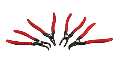 Nylon Snap Ring - ARES 71209   4-Piece 7-inch Internal and External Snap Ring Plier Set   Bearing Steel Spikes with Non-Slip Angle   Premium Storage Pouch Included