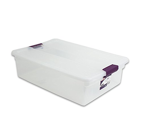 Sterilite 17551706 32 Quart Clear View Storage Container With Plum Handles ()