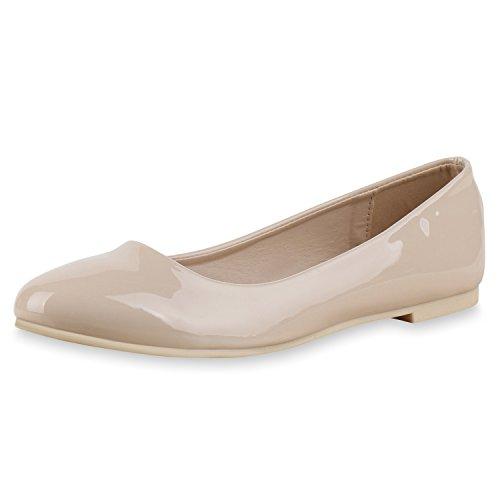 Japado Klassische Damen Ballerinas Flats Spitze Häkeloptik Leder-Optik Slippers Ballerina Schuhe Metallic Schleifen Pailletten Nude
