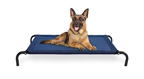 | Elevated Cot Pet Bed for Dogs & Cats, Deep Blue, Large ()