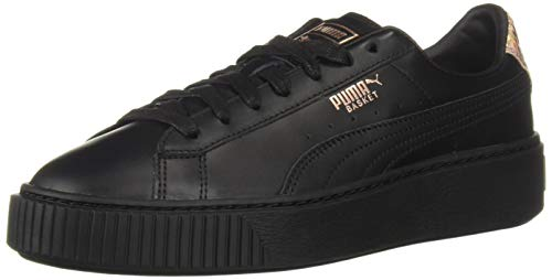 - PUMA Women's Basket Platform Sneaker, Black Rose Gold, 6 M US