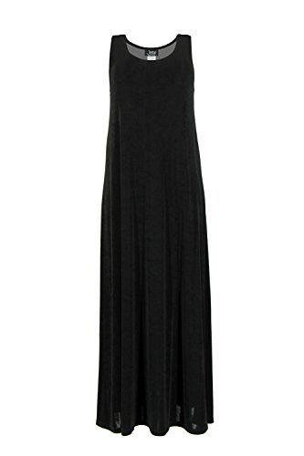 Jostar Stretchy Tank Long Dress with Sleeveless, Plus Sizes in Black Color in 3XL Size
