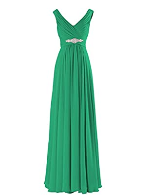 Yougao® Women's V Neck A-line Chiffon Long Floor Length Evening Dress Gown