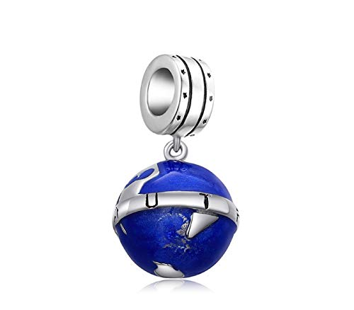 EVESCITY Many Styles Silver Pendents 925 Sterling Beads Fits Pandora, Similar Charm Bracelets & Necklaces (World Globe Blue Enamel Map) (Enamel Globe)