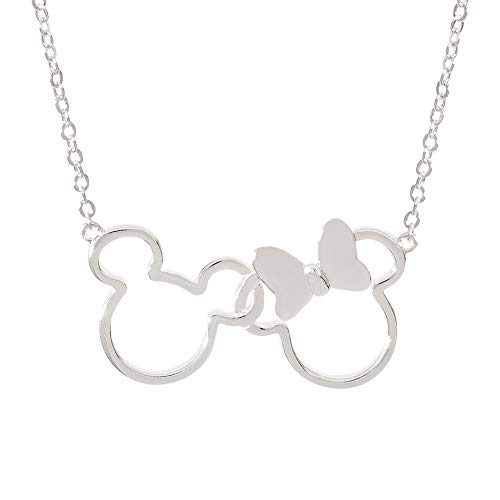 Disney Jewelry for Women and Girls, Mickey and Minnie Mouse Silver Plated Silhouette Pendant Necklace, 18