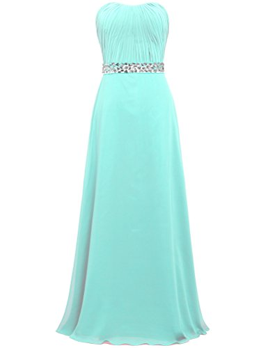 Long Prom Women's Gown Wedding Cyan Chiffon Dresses Party ANTS dqEt0q