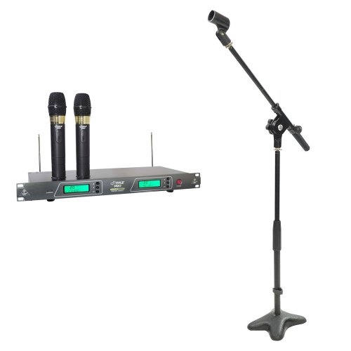 Pyle Mic and Stand Package - PDWM2550 19'' Rack Mount Dual VHF Wireless Rechargeable Handheld Microphone System - PMKS7 Compact Base Microphone Stand