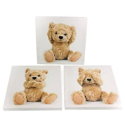 Children's Set of 3 Teddy Bear Canvas Pictures Baby Kids Nursery Room Wall Art - Teddy Nursery