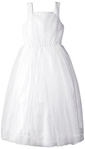 Kleinfeld Pink Big Girls' Stephanie Organza Dress With Embroidered Bodice and Cluster Pearls Along Waist, White, 12 by Kleinfeld Pink