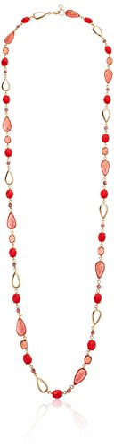 Anne Klein Women's Gold Tone and Pink Multi Stone 42-Inch Strand (Strand Multi Stone Necklace)
