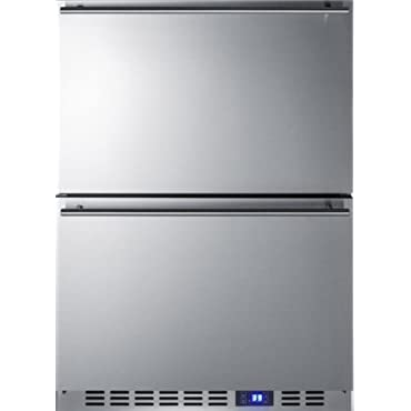 Summit FF642D 24 2-Drawer Refrigerator with 3.4 cu. ft. Capacity, Professional Handles (Stainless Steel)
