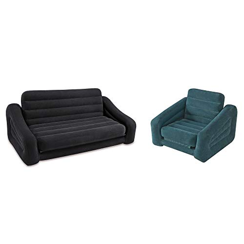 Intex Inflatable Queen Pull-Out Sofa Bed + Inflatable Pull-Out Chair Sleeper ()