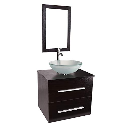 Wood Wall Mounted Bathroom Vanity 24 inch Floating Cabinet with Sink Combo -