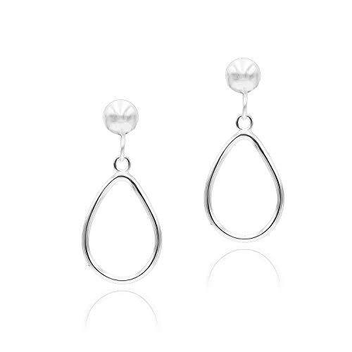 Sea of Ice Sterling Silver Open Teardrop Dangle Hoop Earrings 5mm Bead Post Dangle Earrings for Women Girl