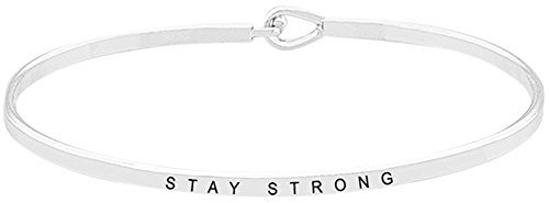 "Inspirational ""STAY STRONG"" Positive Message Engraved Thin Brass Bangle Hook Bracelet (Silver Tone)"