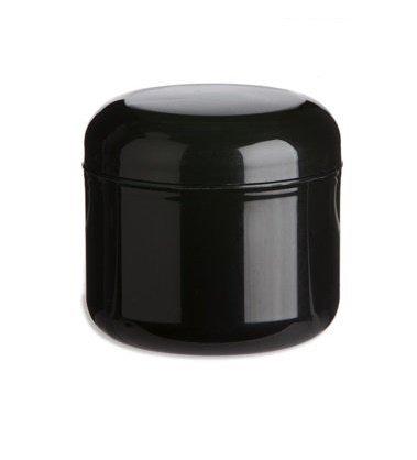 Premium Vials - 12 Pcs, Black Double Wall Plastic Jars with Dome Lid (2 OZ, Black)