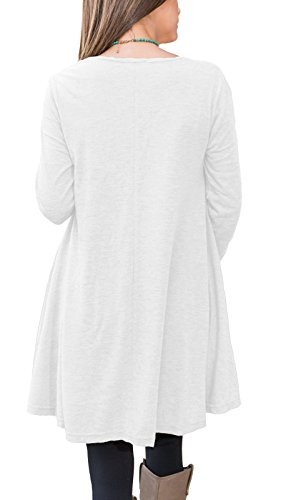 Review Floral Find Women Long Sleeve Blouse Layered Scoop Neck Tunic Loose Fit Dress (Medium, White)
