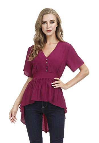 Awalis Womens V Neck Asymmetrical High Low Short Sleeve Casual Tunic Tops Tee Shirt, Large, Jester Red ()