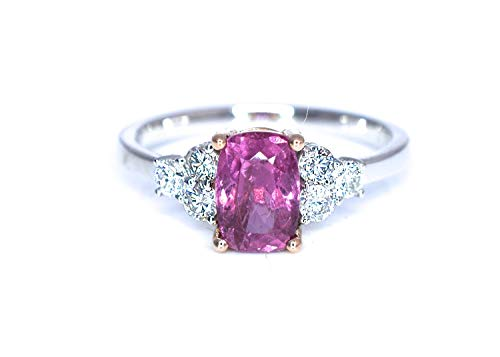 Natural Padparadscha Sapphire Cushion Cut and Diamonds Statement Cocktail Engagement Ring Lotus Orange Pink Color 1.97 cttw 14K White and Rose Gold New Size 7 Certified