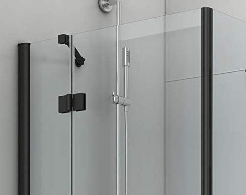 Cabina de ducha, ducha de esquina, 6 mm, vidrio templado negro ...