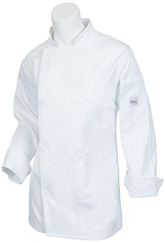 Mercer Culinary M61030WHXS Genesis Women's Jacket with Traditional Buttons, X-Small, (Ladies Traditional Chefs Jacket)