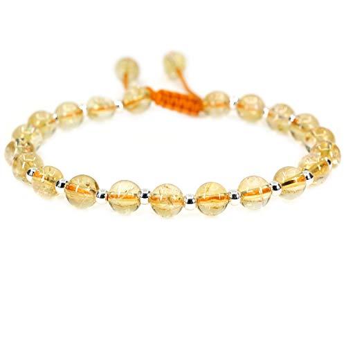 AMANDASTONES Natural A Grade Citrine Gemstone 6mm Round Beads S925 Sterling Silver Adjustable Braided Macrame Tassels Bracelets 7-9 inch Unisex