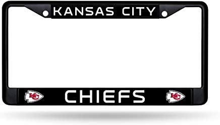GRAETfpeoglsd Rico Industries Kansas City Chiefs Authentic Metal Black License Plate Frame Auto Truck Car