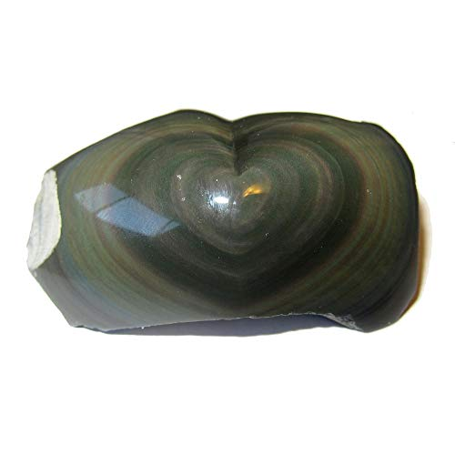 Satin Crystals Obsidian Rainbow Heart Collectible Healing Power of Love Stone, Polished & Raw Lava Rock C55 (2.4