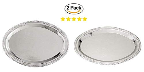 (2 Nickel-Plated Silver Metal Serving Trays. Charging Plates. Hors D'oeuvres and Desserts Tray. Silver Wedding Dinner Party Platter. (9x12))