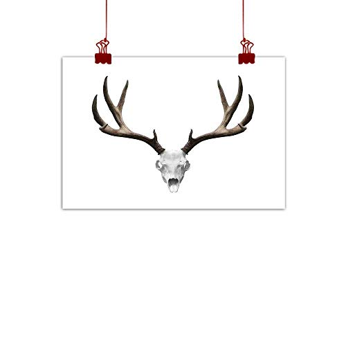 (Wall Painting Prints Antlers Decor,A Deer Skull Skeleton Head Bone Halloween Weathered Hunter Collection, 48