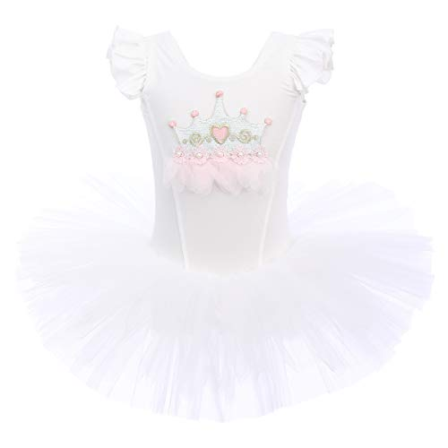 Girl Crown Ballet Tutu Slim Dress Sleeveless Soft Cotton for Dancing Athletic Leotards Kids Princess Dress Halloween Christmas Cosplay Fancy Dress Up Costumes Solid Ballerina Clothing White 5-6 -