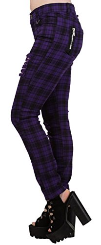 Women's Purple Banned Ripped Tartan Plaid Check Emo Punk Skinny Jeans Pants Trousers - - Jeans Banned