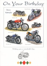 Image Unavailable Not Available For Colour Happy Birthday Card Classic Motorcycles