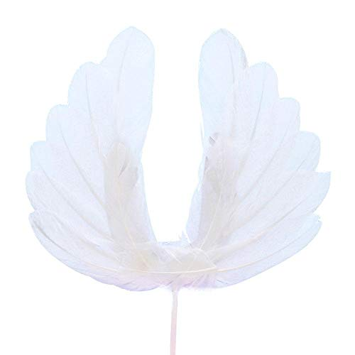 Leegoal Cake Gift Card Angel Wings White Feathers Cake Topper DIY Party Favors Kit, Birthday Wedding Anniversary Party Luminous Decorations ()