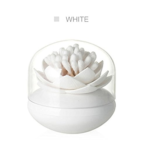Flower Bud Jar (HomDSim Stylish Beauty Lotus Cotton Bud Swab Small Toothpicks Q-tip Brushes Box Holder Case Storage Organizer Container Jar with Clear Lid Cover Dustproof Flower Vase Cosmetic Pads)