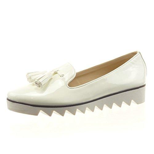Sopily - Zapatillas de Moda Mocasines Tobillo mujer patentes pompom Talón Tacón ancho 3 CM - Blanco
