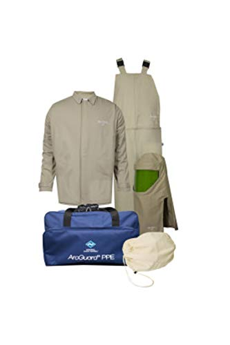 National Safety Apparel KIT4SC40ECNGXL ArcGuard Contractor CAT 4 Arc Flash Kit with FR Short Coat and Bib Overall, 40 Calorie, X-Large, Khaki