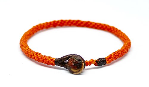 Handmade Thai Buddhist Wristband | Unisex Tight Weave Slim Bracelet | Karma Luck Love Friendship | Yoga Meditation Gift (Orange)