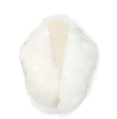 La Carrie Women's Faux Fur Collar Scarf Wrap Cold Winter Warmer(White) (White Stole Fur Fake)