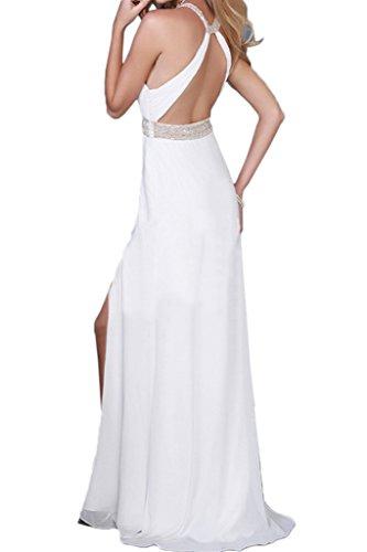 ivyd ressing Damen onirico pietre Girocollo fessura chiffon abito del partito Prom abito Fest vestito abito da sera bianco 40