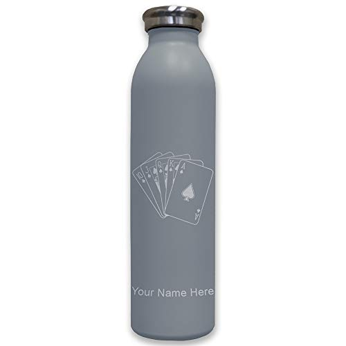 (Lasergram Sports Water Bottle, Royal Flush Poker Cards, Personalized Engraving Included (Gray))