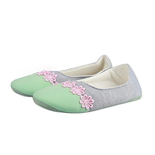 Transer® Damen Zuhause Hausschuhe Warm Schwangere Yogaschuhe Baumwolltuch+TPR (Bitte achten Sie auf die Größentabelle. Bitte eine Nummer größer bestellen. Vielen Dank!) Grün