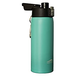 Aquatix (Turquoise, 21 Ounce) Pure Stainless Steel Double Wall Vacuum Insulated Sports Water Bottle with Convenient Flip Top - Keeps Drinks Cold for 24 Hours, Hot for 6 Hours